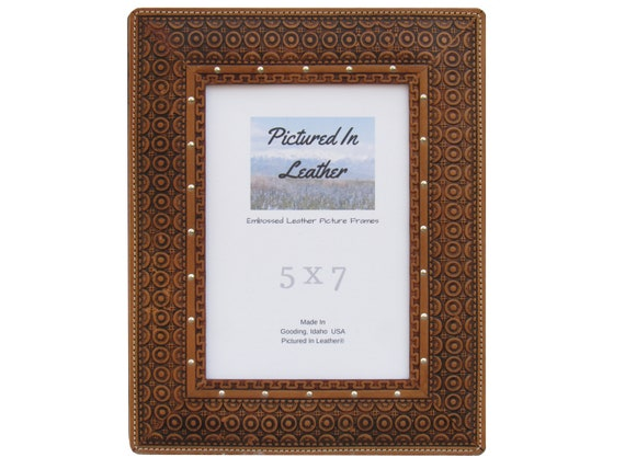 5x7 Leather picture frame, light brown, embossed with a beautiful circles design, unique leather photo frame!