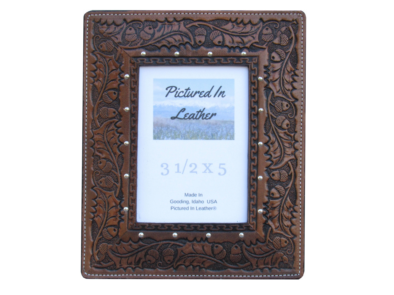 Rustikale Leder Bilderrahmen 3-1/2 x 5 Eiche Blatt Rahmen