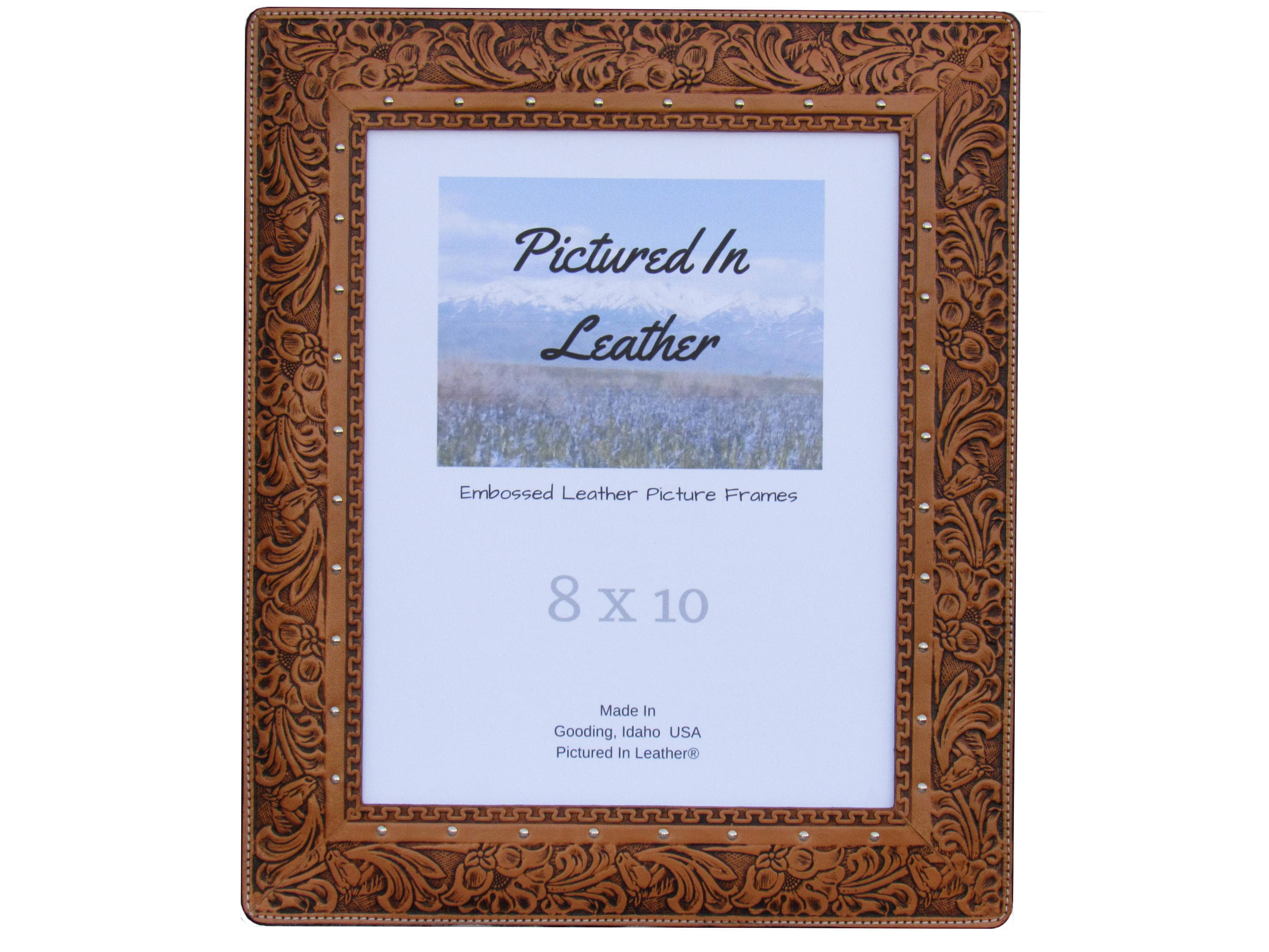 8x10 Leather picture frame, embossed horse and floral. Leather photo ...