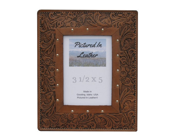 3-1/2x5 Leather picture frame, leather photo frame, brown western picture frame, rustic photo frame, embossed horse and floral photo frame