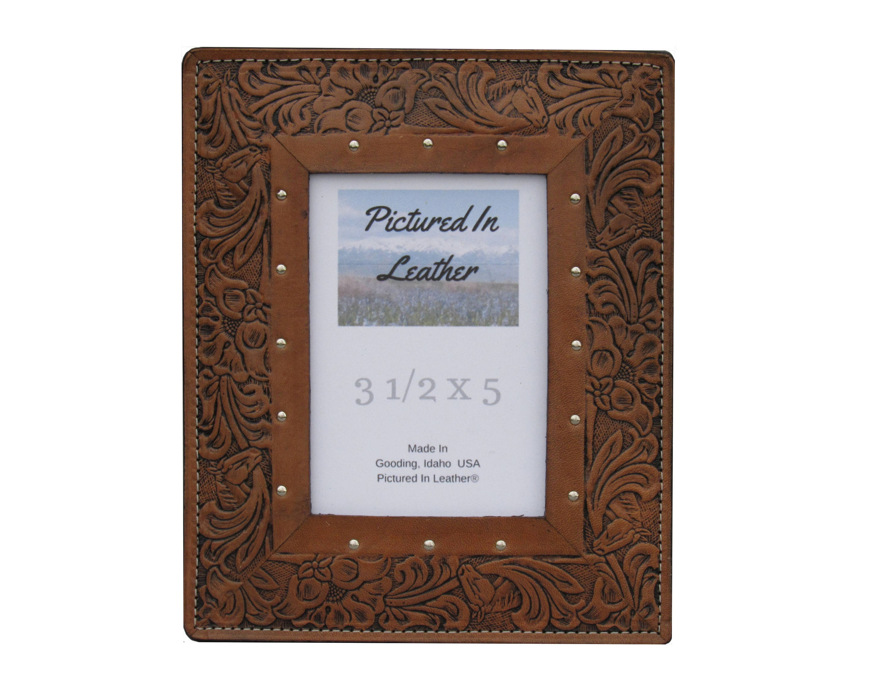 3-1/2x5 Leather picture frame, leather photo frame, brown western ...