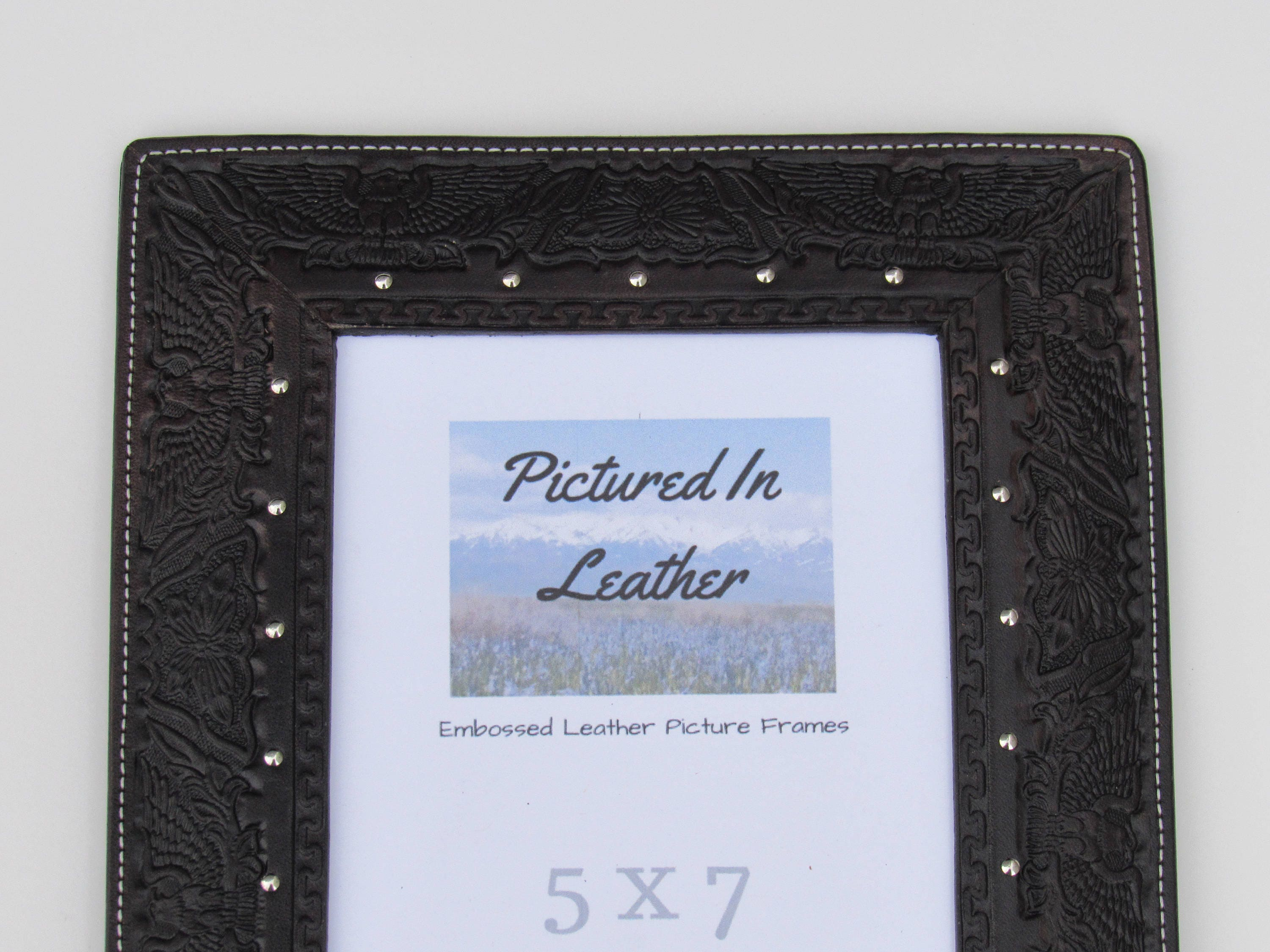 Leather gifts for him, 5x7 leather photo frame, anniversary frame ...