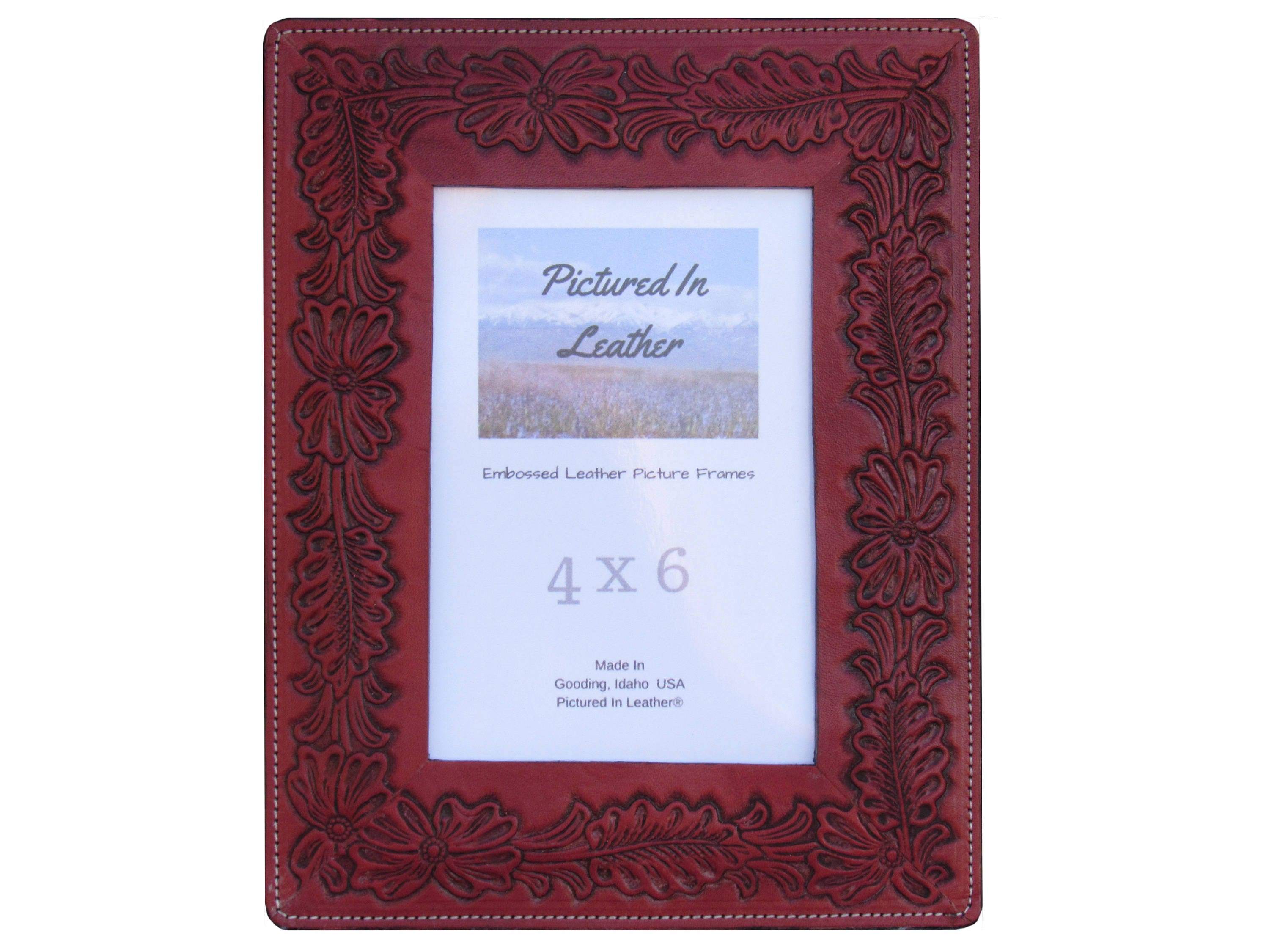 Leather picture frame 4x6 embossed with a flower design cherry leather picture frame 4x6 embossed with a flower design cherry mahogany color beautiful flower picture frame ready to ship izmirmasajfo