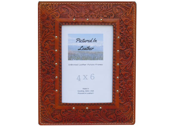 4x6 Leather picture frame, saddle tan, embossed horse and floral design. Rustic picture frame, western picture frame, ready to ship.