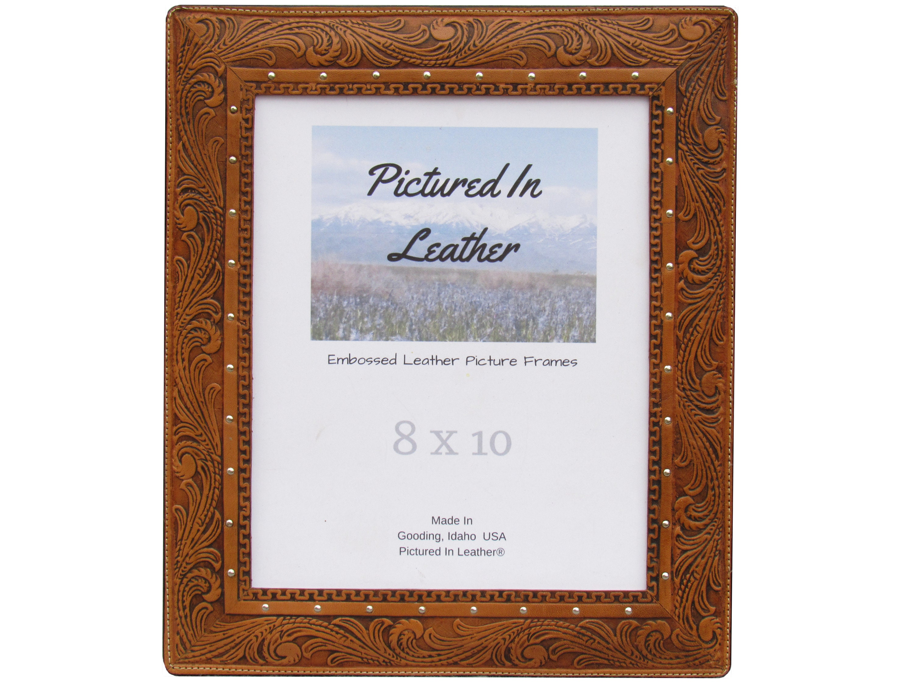 Floral leather picture frame, 8x10, 8x10 leather photo frame, 8x10 ...