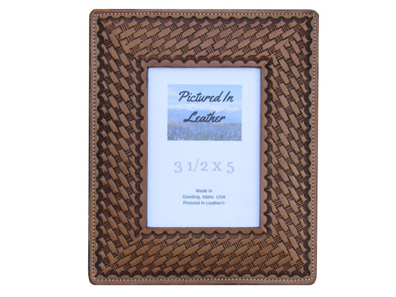 3-1/2x5 Leather picture frame, light brown leather photo frame, great 3rd leather anniversary gift for husband or wife, ready to ship