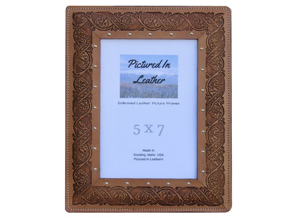 Leather picture frame, 5x7, leather photo frame, 5x7, embossed with a floral design, 5x7 tan leather photo frame, leather Mothers Day gift