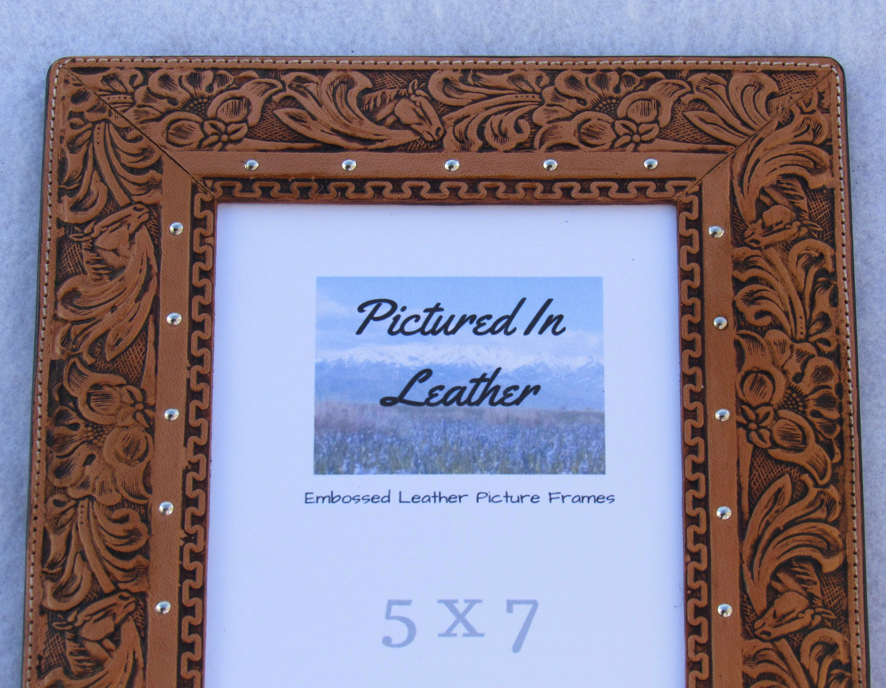 Leather picture frame, 5x7, leather photo frame, 5x7, brown leather ...