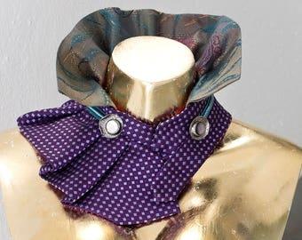Ogurlista - detachable collar, collar-jewelry, tie, silk, Brocade, vintage, upcycling
