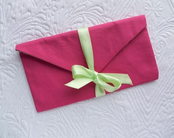 Small pouch pink canvas with satin ribbon