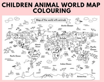 Coloring world map | Etsy