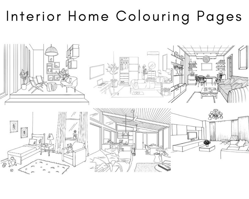 Printable Colouring 5 Pages Home Interior Design Adult Etsy