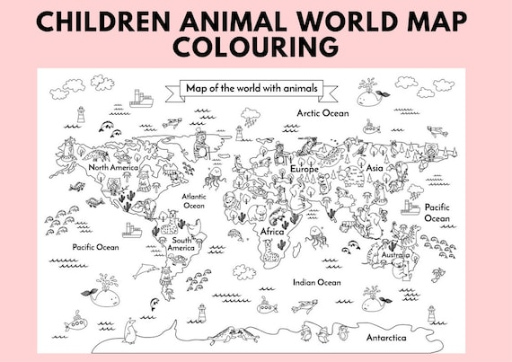 Printable Animal Kids World Map Children Body Coloring ...