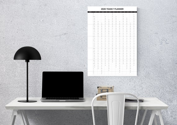 2020 Wall Planner Large Yearly Calendar in A3 A2 and A1 multicolour print