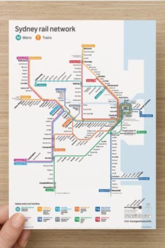 Sydney Map Public Transport Map in A5 size, Print Pocket Train Map with  Updated Sydney Metro North West Train Line