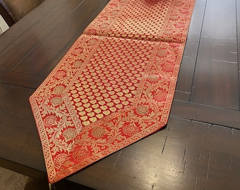 Table Runner// Tapestry Formal 60 Inch Brocade 70 Inch,Silk Beautiful Rust