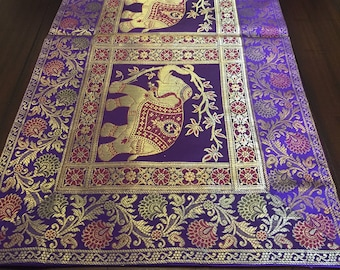 Indian Tablerunner BOHO CHIC Bule REd Brocade Weave Table Runner Colorful Wall Art 72x16