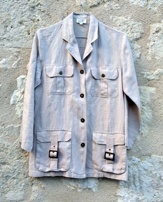 Vintage women's jacket linen beige , Jacket vintag