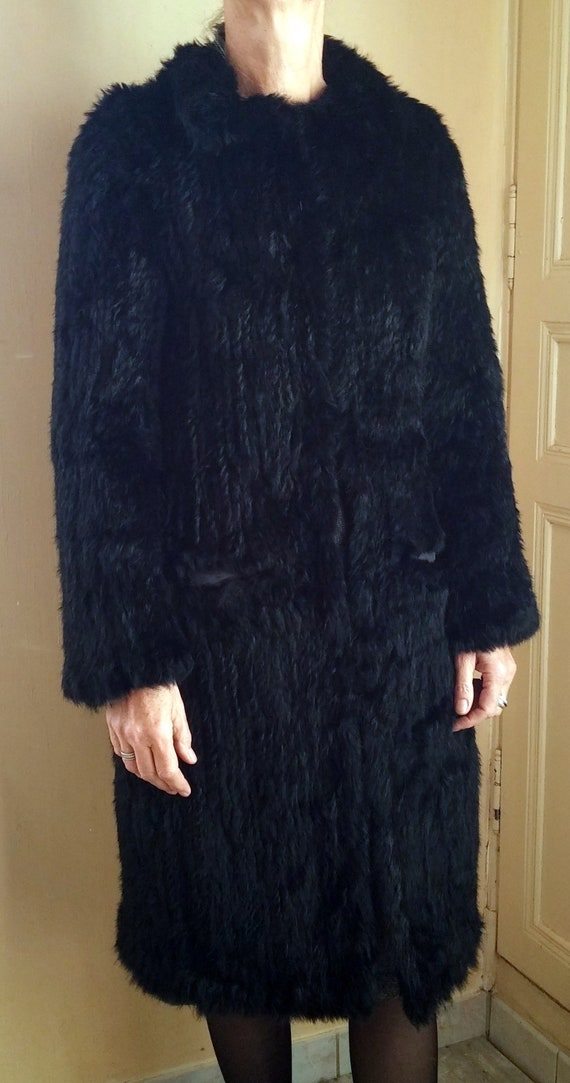 Vintage French woman black fur coat sixties vintag