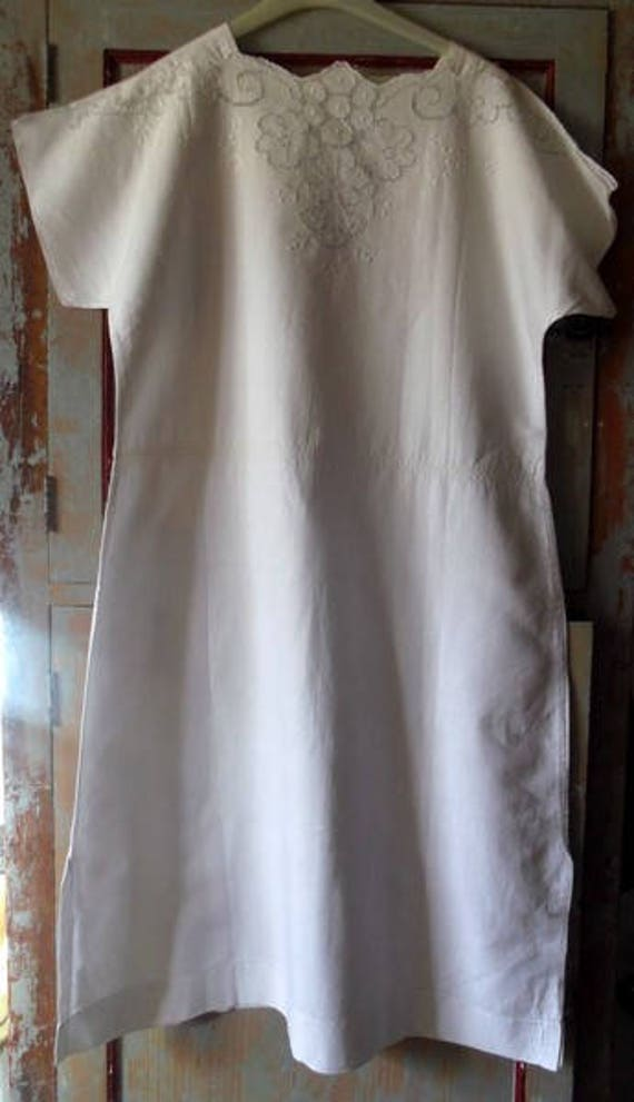 Linen nightdress embroidered linen nightshirt embr