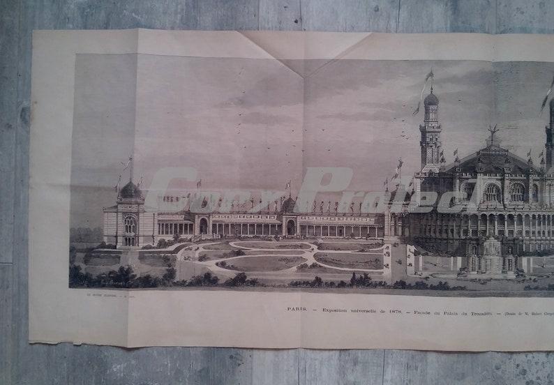 Rare French antique print 1878 Paris Palais Trocadero Rare World Exhibition and great engraving 1878