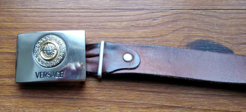 Vintage French leather man belt Ceinturon man full flower leather vintage belt,Versace buckle