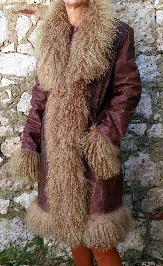 Vintage French coat René DERHY Fur vintage Hippie