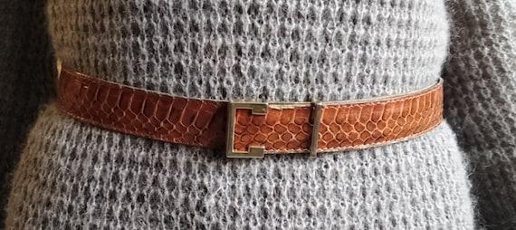 Vintage French snake leather man belt Ceinturon ma