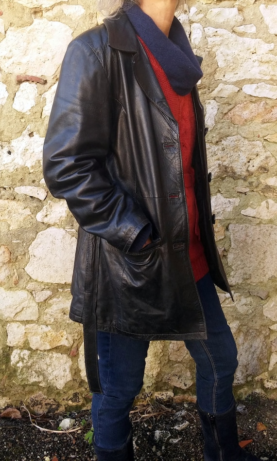 Vintage black leather jacket with 1960 belt, Black