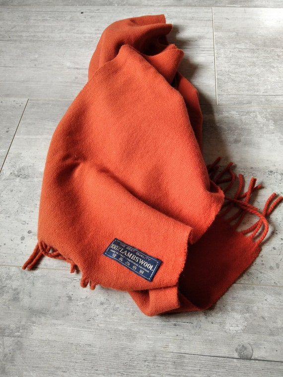 Pure wool wool orange woven wool scarf - image 1
