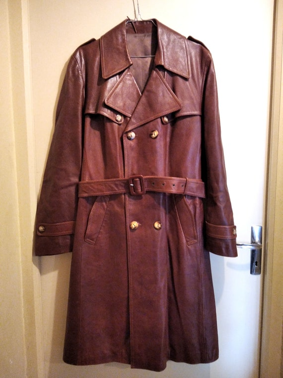 Vintage long jacket leather brown men's coat Long