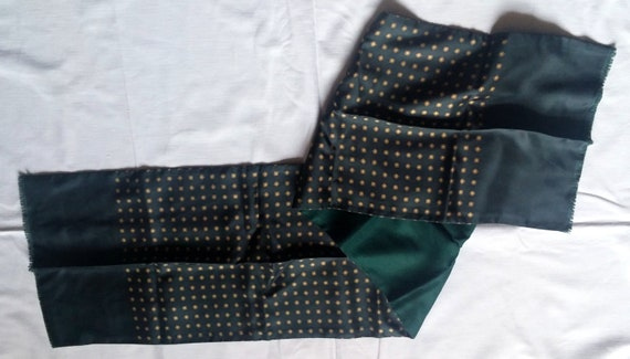 Vintage silk scarf lined with men's green wool, Vi