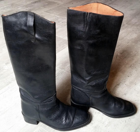 Vintage black leather riding boots, vintage black