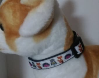 Adjustable Woodland creatures dog collar