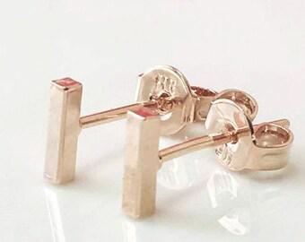 Gold Bar Earrings, Bar Earrings, Rose Gold Studs,Tiny Earrings,Geometric Earrings, Short Bar Earrings,Minimalist Studs, Gold Line Post