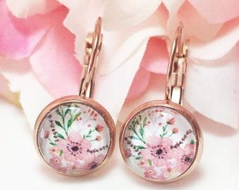 Rose Gold Flower Earrings,Rose Gold Drop Earrings, Pink Flower Earrings, Flower Jewelry, Glass Dome Earrings,Romantic Handmade Gift for her
