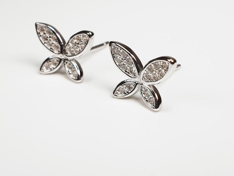 6a0108ee5 925 Sterling Silver Butterfly Stud Earrings Delicate CZ | Etsy