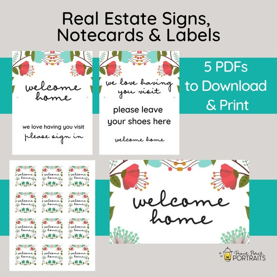 picture regarding Printable Welcome Home Signs identified as Legitimate Estate Branded Suite, Printable Open up Property Symptoms, Real estate agent Stationery, Referral thank oneself, Real estate agent Observe Playing cards, Realty Labels, 5 PDFs