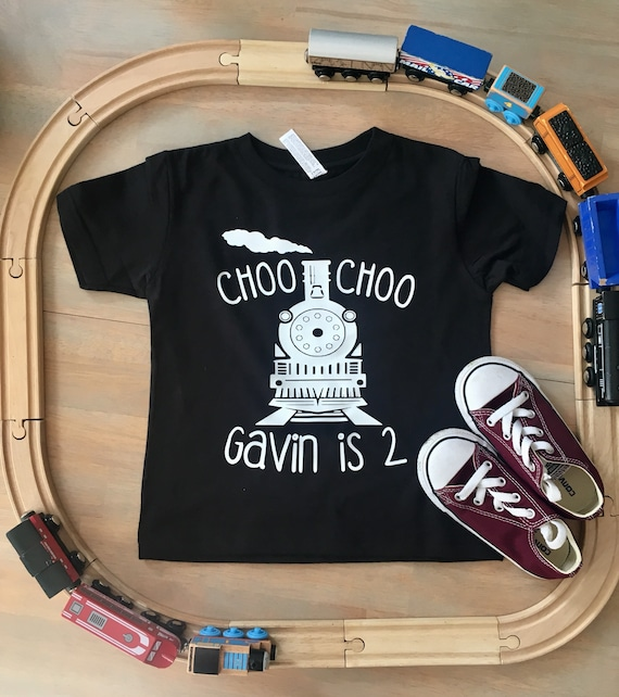 CHOO Im Two Train Birthday Shirt Personalized