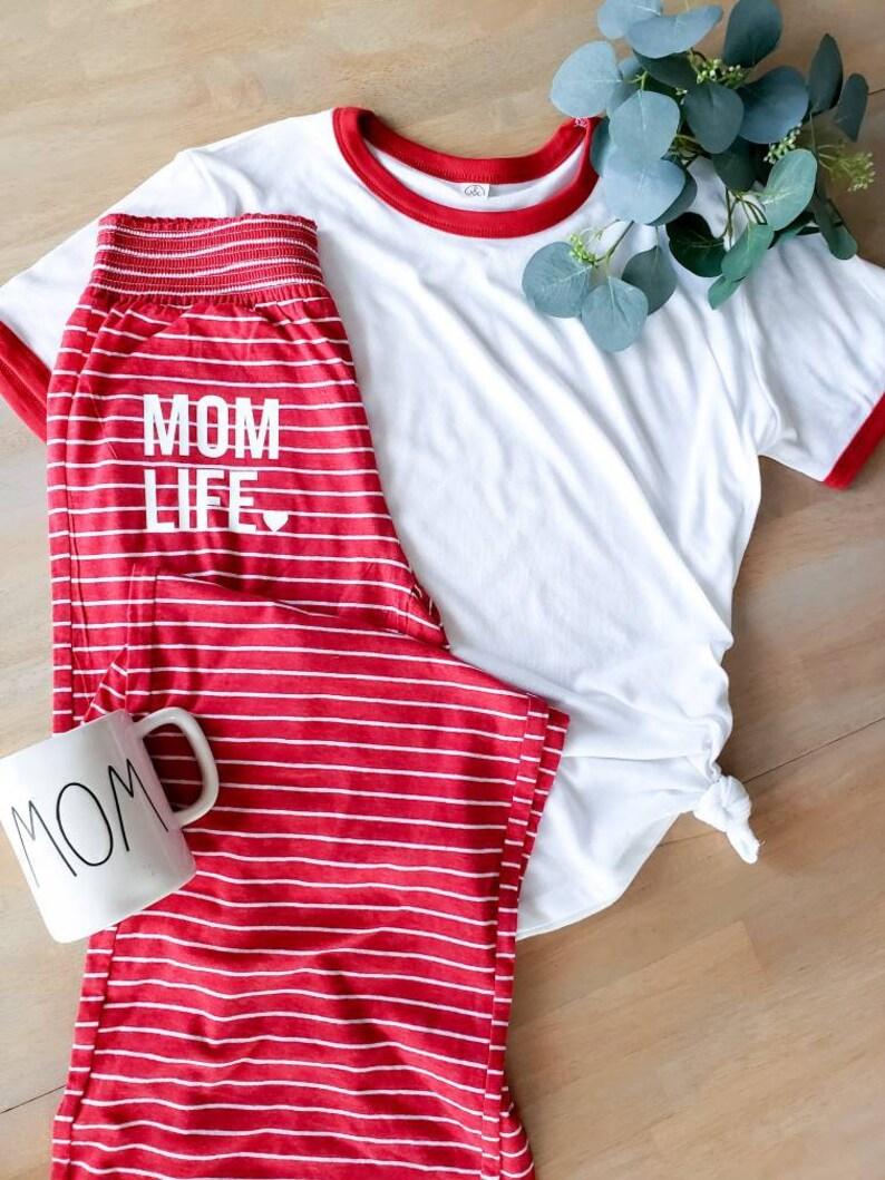 Mom life lounge wear set  pajamas  mama pajamas  longewear image 0