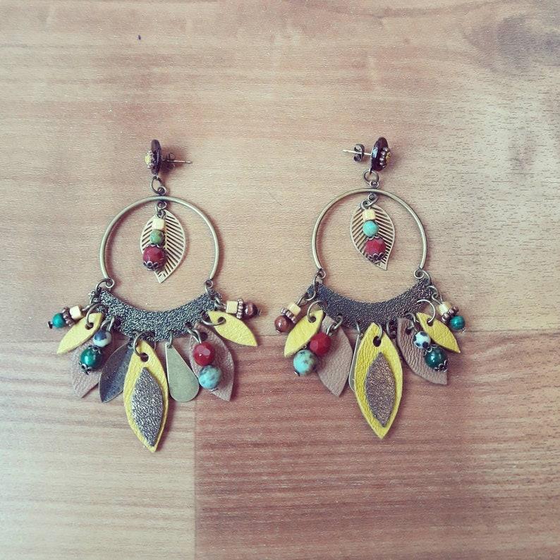 Burgundy earrings color yellow Leather boho chic green stones romantic-semi precious pearls-nature-natural material