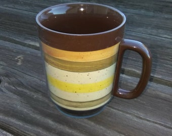 Vintage THERMO SERV Mug#Retro 80's Therma Serv Cup#Brown Gold Retro Mid Century Mug#Lightweight Plastic Thermal Mug#1980's Thermal Mug.