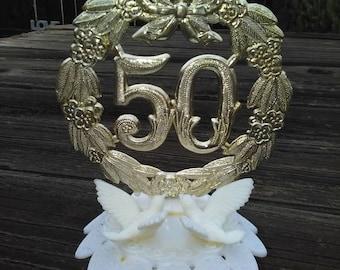 VINTAGE 50th Wedding ANNIVERSARY CAKE Topper+Retro 50th Cake Topper+Golden Anniversary Party+50th Wedding Anniversary Celebration Cake Decor