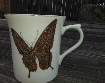 Gold BUTTERFLIES MUG Takahashi San Francisco Vintage Mug Cup Hand Painted Golden Butterflies Mug Takahashi Mug Asian Butterfly Mug With Gold