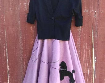 1950's Style POODLE SKIRT Set-50's Mad Men Style Circle Skirt & Top-I Love Lucy Pin Up Rockabilly Outfit-Girls Small Sock Hop Skirt Outfit.