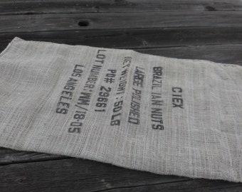 Printed BURLAP Sack Fabric SUPPLIES*Supplies For Collage CRAFTING and Sewing*Burlap Fabric Bag*Brazil Nut Burlap Sack*Potato Sack Games Art.