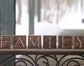 FAMILY walnut wood blocks...
