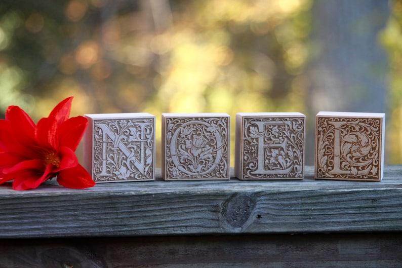 NOEL holiday wood blocks  classic rustic home decor  free image 0