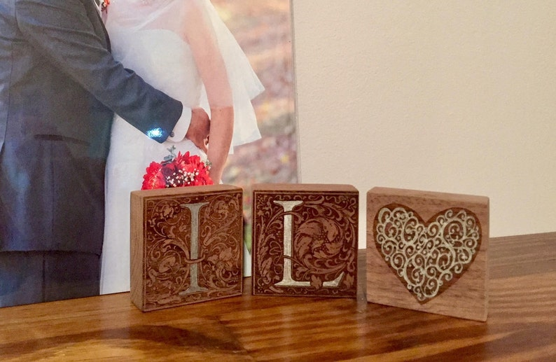 Engraved initial set with heart  free shipping  romantic image 0