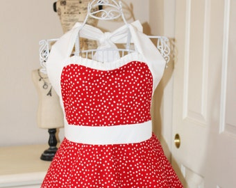 Lucy Inspired Red Polka Dot Apron (Sweetheart Neckline)